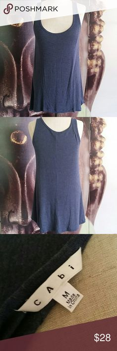 CAbi Blue Tunic Tank Soft and comfy cotton material Size medium  Dark blue denim ish color EUC very gently worn maybe once. CAbi Tops Tank Tops