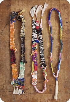 fiber-art woven and wrapped necklaces Textile Jewelry, Fabric Jewelry, Textile Art, Jewelry Art, Jewelry Design, Jewellery, Fiber Art Jewelry, Textiles, Mixed Media Jewelry