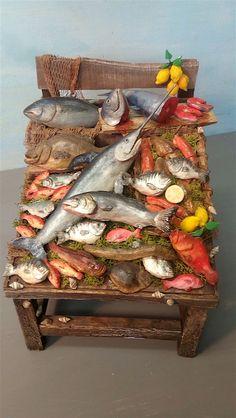 Miniature Crafts, Miniature Houses, Miniature Food, Miniature Dolls, Dolls House Shop, Mini Doll House, Clay Fish, Mermaid Ornament, Vitrine Miniature