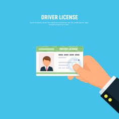 Close-up of person hand holding driver license. id card of driver with photo. Vector illustration in flat style. векторная иллюстрация