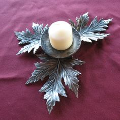 Forged Maple Leaf Candle Holder by Jeff Tice