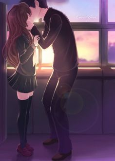Toradora - Takasu Ryuuji and Aisaka Taiga That's how i imagined what happened after the last episode runned.... that he tells her to shut up and kisses her.... sighhhhhh ♥