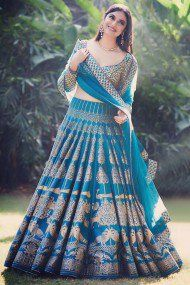 Rama Printed Attractive Party Wear Lehenga Choli with Matching Color unstiched blouse. The Lehenga can be customized up to bust size 44 , Lehenga Length 48 , Waist size 38 , and Dupatta size Mtr. Indian Lehenga, Blue Lehenga, Silk Lehenga, Sari, Red Saree, Lehenga Choli Designs, Lehenga Choli Online, Bridal Lehenga Choli, Ghagra Choli