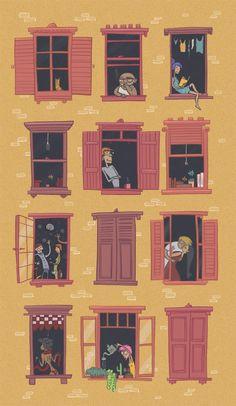 Ирландският художник Росини Хахеси (Roisin Hahessy), който в момента живее и работи в  Рио де Жанейро, е впечатлен от темпераментния начин на живот на бразилците, който ни показва в серия от забавни илюстрации, описващи типовете хора, обитаващи голяма жилищна сграда.