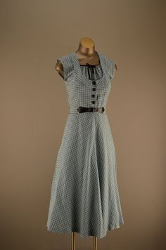 1940s plaid day dress size small 40s blue and black by melsvanity, $88.00