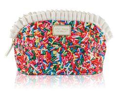 Betsey Johnson KITSCH RAINBOW SPRINKLES Large Ruffle COSMETIC BAG BJ00055C #BetseyJohnson #CosmeticBags