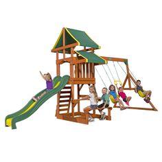 Backyard Discovery Shenandoah All Cedar Wood Playset Swing Set Toy