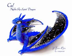 Dragon sculpture: Ciel, Night Sky Spirit Dragon. OOAK fantasy miniature with wings, stars and moon, hand-modeled cold porcelain collectible - Thumbnail 1