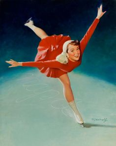 Vintage Pin-Up Ice Skating William Medcalf PINUP586 Art Print Canvas ...