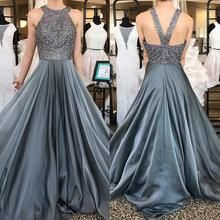 Gray Satin O neck Prom Dresses Long Beaded Evening Dresses Sexy Formal Gowns Backless Teen Girls Party Graduation Dresses for Teens Girls Long Prom Dresses Uk, Grey Prom Dress, Winter Formal Dresses, Beaded Prom Dress, Formal Dresses For Women, Cheap Prom Dresses, Dresses For Teens, Formal Gowns, Homecoming Dresses