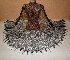 Sorceress Winter pattern by Alla Borisova - Stola Stricken Shawl Patterns, Lace Patterns, Knitting Patterns, Crochet Shirt, Knit Crochet, Crochet Vests, Crochet Cape, Crochet Edgings, Crochet Motif