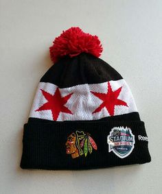 Wear the same Stadium Series hat as the players with this Knit Pom! #Blackhawks