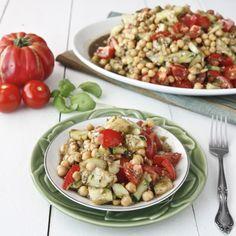 garbanzo bean salad -- 3.5 / 5 [Added crumbled feta and fresh basil. Good way to use up cucumber.]