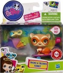 Littlest Pet Shop Tricks Talents Figure Ferret by Hasbro. $6.25. #2393 Ferret. Push, I blink & move my leg. Just when you think this adorable little ferret pet couldnt be any cuter, he shows his amazing talent hes a worldchampion skateboarder! When you push him, your talented TRICKS & TALENTS FERRET pet moves his leg and blinks! Youll have so much fun with your friendly moving ferret buddy!Push your TRICKS & TALENTS FERRET pet to make him move his leg and blink! Adorable ferret...