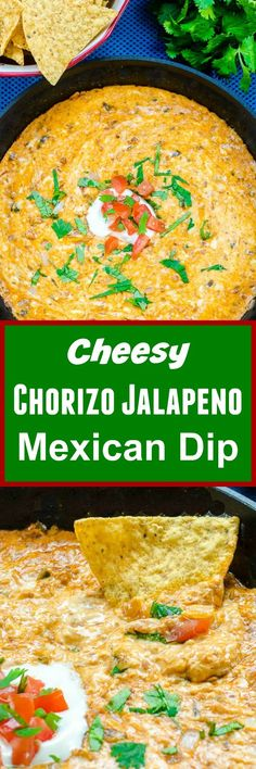 Cheesy Chorizo Jalapeno Mexican Dip is a spicy queso dip made with chorizo, onions, jalapenos, and Mexican cheese that is perfect for parties and holiday entertaining! Great Appetizers, Appetizer Recipes, Snack Recipes, Cooking Recipes, Healthy Recipes, Best Superbowl Food, Tailgating Recipes, Mexican Dips, Mexican Food Recipes