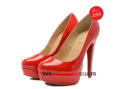 a7e925228c72 Christian Louboutin Pompes Gs Pigalle Follies Vernis Pas Cher Femme Marron  rouge-1808040464-Chaussures