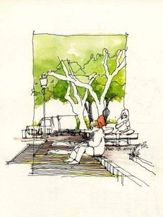 sketches Sketch acuarela más rotulador Aquarellskizze plus FilzstiftThe Effective Pictures We Offer You About Urbanism Architecture illustration A quality picture can tell you many things. You can find the mos Landscape Sketch, Landscape Drawings, Urban Landscape, Landscape Design, Sketch Painting, Drawing Sketches, Pen Sketch, Croquis Architecture, Landscape Architecture Drawing