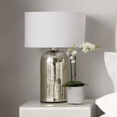 The White Company Silver Glass Bottle Table Lamp