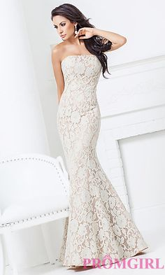 Floor Length Strapless Lace Dress from Evenings by Mon Cheri at PromGirl.com