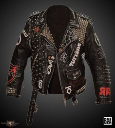Leather Battle Jacket Update on the whole jacket, but mostly on the back.) from Baza Spiked Leather Jacket, Painted Leather Jacket, Punk Outfits, Fashion Outfits, Fashion Weeks, Punk Mode, Custom Leather Jackets, Punk Jackets, Battle Jacket