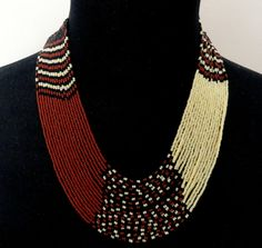 African style Zulu beaded multistrand necklace black brown cream beige, Beaded multistrand necklace