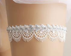 Liga de novia, Liga nupcial, tirar la liga, Liga, Liga de diamante de imitación, liguero de encaje, cristal Liga, liguero blanco, accesorios nupciales