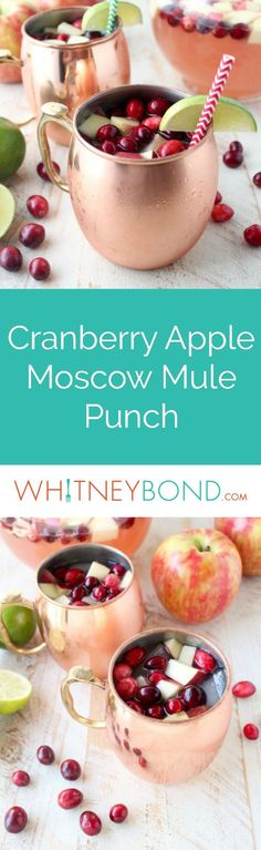 This recipe for Cranberry Apple Moscow Mule Punch is perfect for holiday parties, Friendsgiving, or anytime you need a Moscow Mule recipe for a crowd! Prepare in a @worldmarket Glass Acapulco Pitcher & serve in Moscow Mule Mugs! #WorldMarketTribe