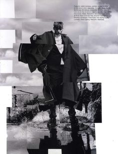 Secretly, inside, you also love jumping in puddles.  Baptiste Radufe in the editorial 'Men At Work' in Numero Homme