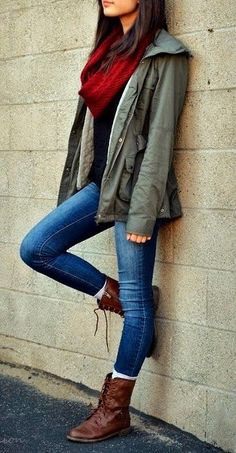 Fall or spring outfit with long boots and cool jacket | Fashion World
