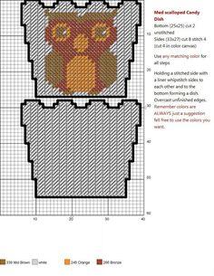 OWL Plastic Canvas Ornaments, Plastic Canvas Crafts, Plastic Canvas Patterns, Cross Stitch Owl, Cross Stitching, Cross Stitch Patterns, Owl Basket, Owl Ornament, Owl Patterns