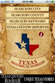 For your mobile apps...   People have been stopping, riding or driving by Texas Historical Markers since 1903. But finding a way to learn what the markers have to say about Texas History without stopping has eluded the public until now.