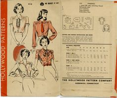 1940s Women's Blouse  Hollywood Patterns 915