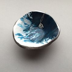 """High Tides,""a one-of-a-kind, handmade & handpainted polymer clay jewelry trinket dish made for the ocean lovers. ($20) #trinketdish #ringdish #jewelrydish"