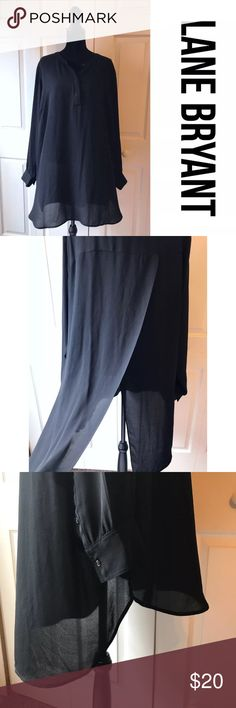 """Lane Bryant Long Sheer Black Split Back Top Beautiful sheer tunic top from Lane Bryant. Front is 1/4 button and the back is split. Perfect to wear with leggings. Long sleeve, back is slightly longer than the front. Excellent condition, one small iron mark on the front over the button. Pictured. Approx measurements lying flat: chest 28"""", length at shortest 35"""". Size 22/24. B11 Tops"""