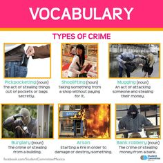 Crime Vocabulary - Repinned by Chesapeake College Adult Ed. We offer…