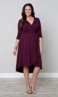Winona Hi-Lo Wrap Dress, color raspberry wine, $108