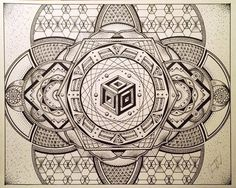 Artwork of Glenn Thomson Sacred Geometry Symbols, Sacred Geometry Tattoo, Geometric Drawing, Geometric Shapes, Mandala Design, Mandala Art, Zentangle Patterns, Sacred Art, Psychedelic Art