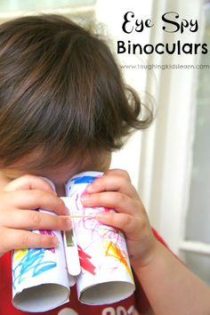 Simple toddler or preschooler craft making eye spy binoculars. Great for developing observational skills and descriptive language.