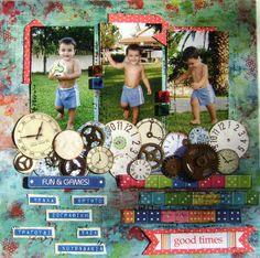 A scrapbook page of my son playing in the garden.