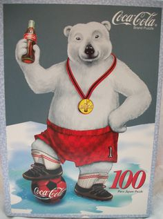 "COCA COLA   ""SOCCER BEAR""  100 pc jigsaw puzzle  1998"