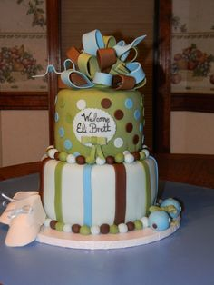 brown, green baby shower cakes | Yellow cake w/BC and fondant. I loved the color combination and client ...