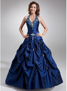 More Colors available - Ball-Gown Halter Floor-Length Taffeta Quinceanera Dress With Embroidered Beading (021004580) - JJsHouse