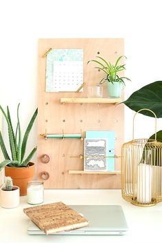 diy-peg-board-bureau-plante mademoiselle claudine