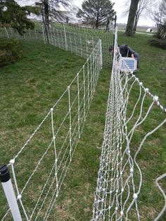 Low cost fishing line deer fence using 10 ft wood corner for Fishing line deer fence