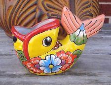 Bass de boca ancha peces Talavera de cerámica de barro Arte Popular Animales Decoración del hogar