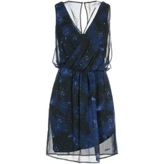 Pepe Jeans 73 Short Dress ($150) ❤ liked on Polyvore featuring dresses, dark blue, short chiffon dress, v neck chiffon dress, blue sleeveless dress, blue chiffon dress and chiffon dresses