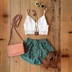 •White Crop Top •Floral Shorts  •Brown Sandals •Little Pink Purse