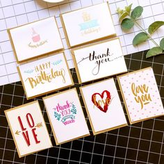 Mini Greeting Cards Birthday Cards Happy Birthday Gold Metallic Thank You Cards Love Valentine Thank You Greetings, Birthday Greetings, Thank You Cards, Cute Birthday Cards, Happy Birthday, Valentine Greeting Cards, Love Valentines, Kraft Envelopes, Card Sizes