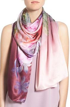 Ted Baker London 'Pure Peony' Print Silk Scarf