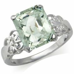 Silvershake Natural Green Amethyst and White Topaz 925 Sterling Silver Cocktail Ring White Topaz, Cocktail Rings, Jewelry Rings, Amethyst, Engagement Rings, Sterling Silver, Crystals, Diamond, Green
